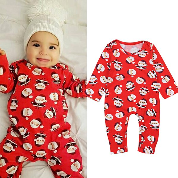 Newborn Kids Baby Girl Christmas Santa Claus Romper Long Sleeve Jumpsuit Clothes Outfits Baby Clothing