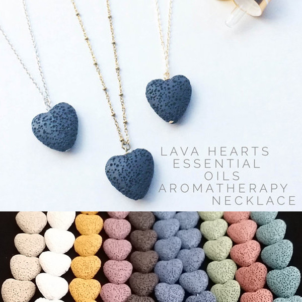 top popular Hot Heart Lava Rock pendant necklace 9 colors Aromatherapy Essential Oil Diffuser Heart-shaped Stone Necklaces For women Fashion Jewelry 2020