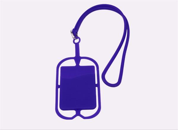 Universal promotion item smart wallet mobile card holder lanyard cell phone credit card holder silicone mobile phone id card holder