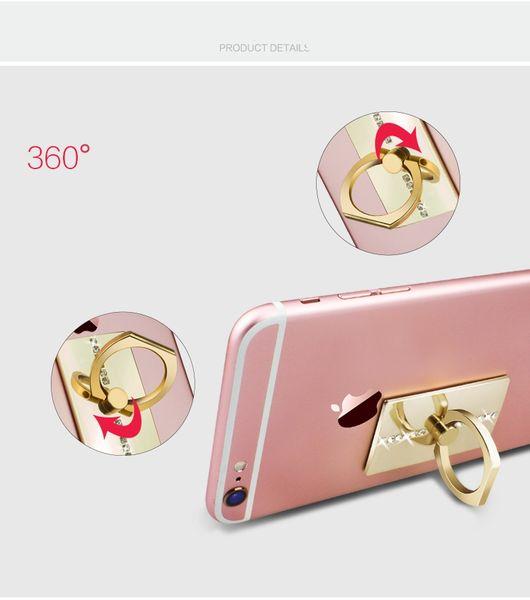 Téléphone bague en métal bande de diamant bague boucle arrière autocollants paresseux cadre de téléphone mobile stent