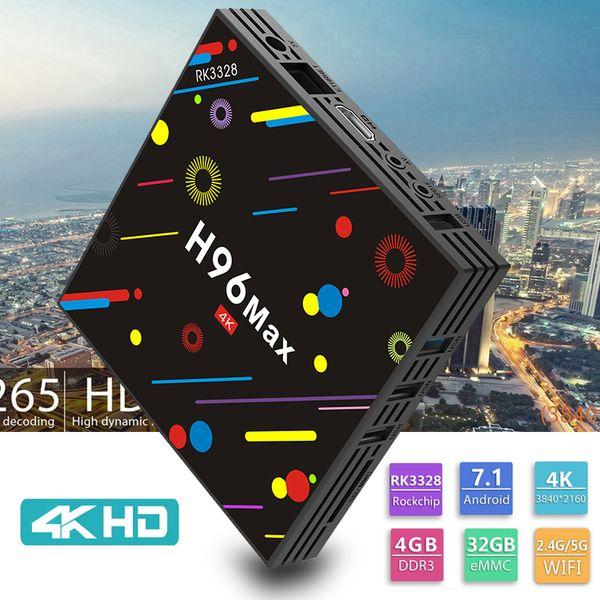 H96 MAX H2 Android 7.1 TV Box 4GB 32GB RK3328 Quad Core 2.4G 5G WiFi Bluetooth USB 3.0 4K Media Player