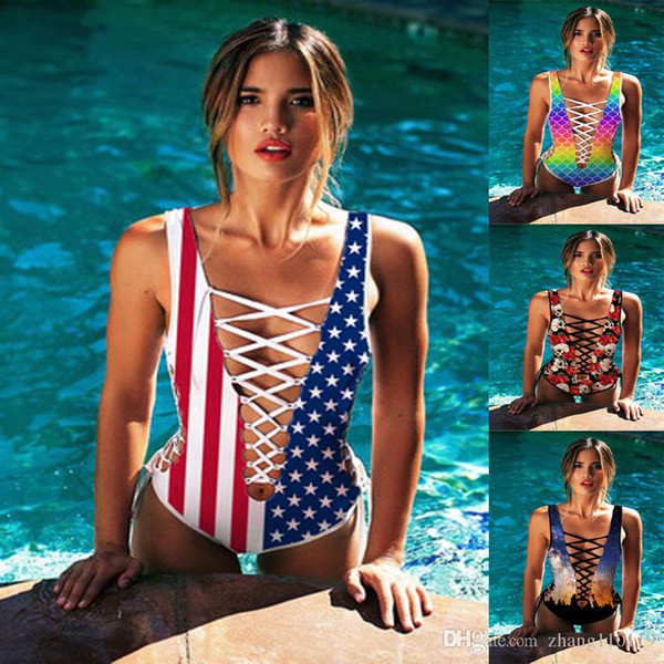 2018 women Sexy one piece swimwear 3d print Star rainbow lace up Bikini swimsuit Floral bathing suit hollow out American flag bodysuit