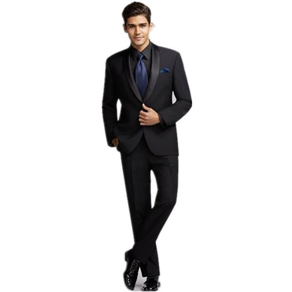 Brand Groomsmen Shawl Satin Lapel Groom Tuxedos Black Mens Suits Wedding Best Man men suit (Jacket+Pants+Tie+Handkerchief)