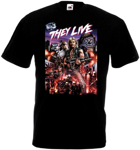 Lustige Marke T-Shirt Männer Sie leben v1 T Shirt schwarz Filmplakat alle Größen 2018 Herren Lastest Fashion Short Sleeve Printed lustiges T-Shirt