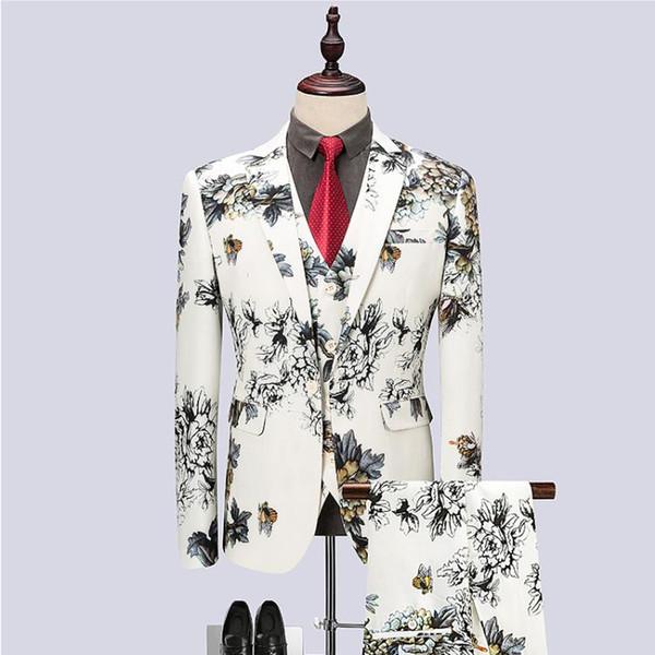 (Jacket+Vest+Pants) 2018 mens fashion Flower color Men Suits Fashion Men's Slim Fit business wedding Suit men Wedding suitsuit for man