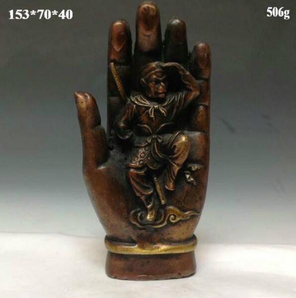 Estatua de bronze chino --- mono luchando sobre el Buda y mano