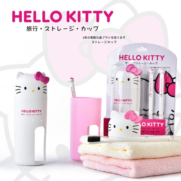 2sets Cute Cartoon Hello Kitty Portable Toothbrush Bristles head Environment-friendly Personal Environmental Toothbrush with Cup