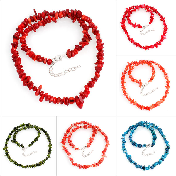 Intera venditaGratis Spedizione Gioielli 5x3mm-15x8mm Naturale Colorato Sea Coral Chip Beads Nylon Linea Tessuto Collana Girocollo Collane Donne 48 cm
