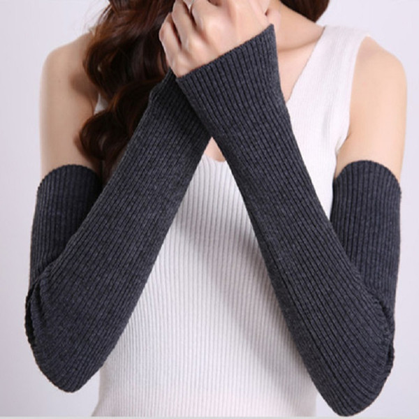 New Women Winter Arm Warmers Cashmere Fingerless Gloves Female Warm Mittens Elbow Long Gloves Knitted Mittens Sleeves 47cm Luvas