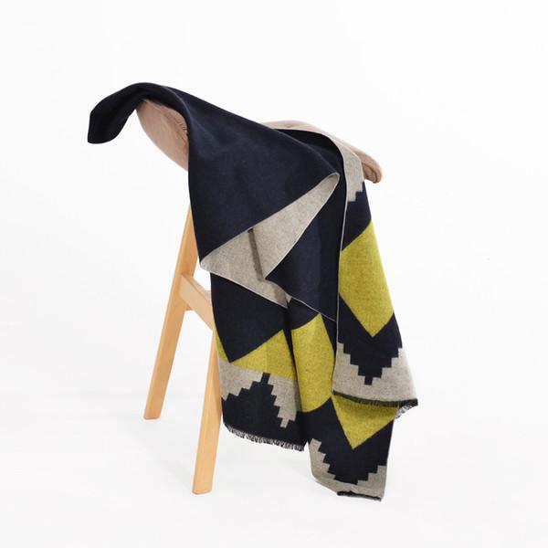 Winter Scarf Women's Cashmere Blanket Black&Yellow Pashmina Wave Printed Large Poncho Foulard Shawl 200*67cm 2018 New Warmer