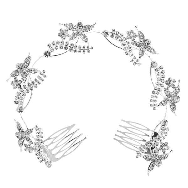 2018 Hotsale Feis романтический невесты длинные волосы орнамент полный алмазов цветы, стрекозы, серебряный сплав расческа волос свадебный аксессуар