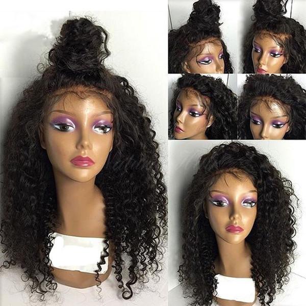 Full Lace Wigs Brazilian Human Hair Wigs for Black Women Medium Cap Culry 150% Density Full Head Natural Color