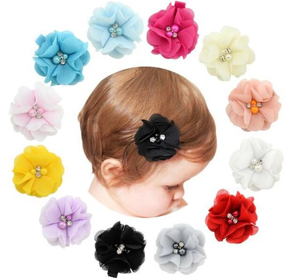 детские шифоновые цветы с жемчугом горный хрусталь центр искусственный цветок ткани цветы дети заколки для волос R231