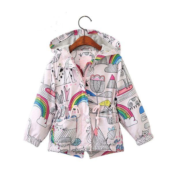 Morningwell Sonbahar Bebek Ceket Ceketler Kız Moda Karikatür Gökkuşağı Kapşonlu Rüzgarlık Toddler Kız Çocuklar Için Giysi Outerwears