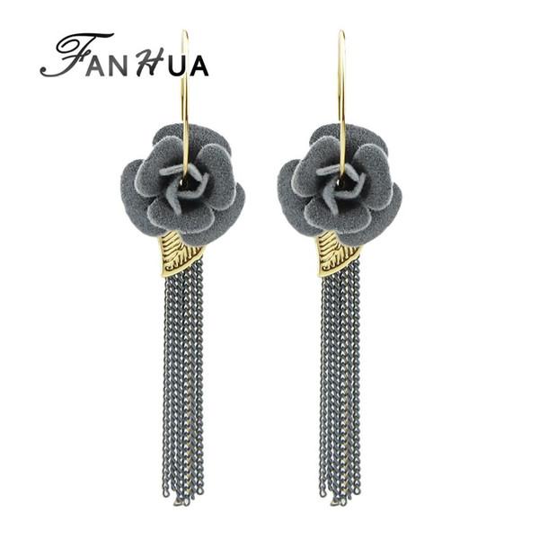 Wholesale- FANHUA Ethnic Jewelry Boho Earrings Gray Black Winered Flower Hoop Earrings Long Chain Tassel Earrings for Women From India
