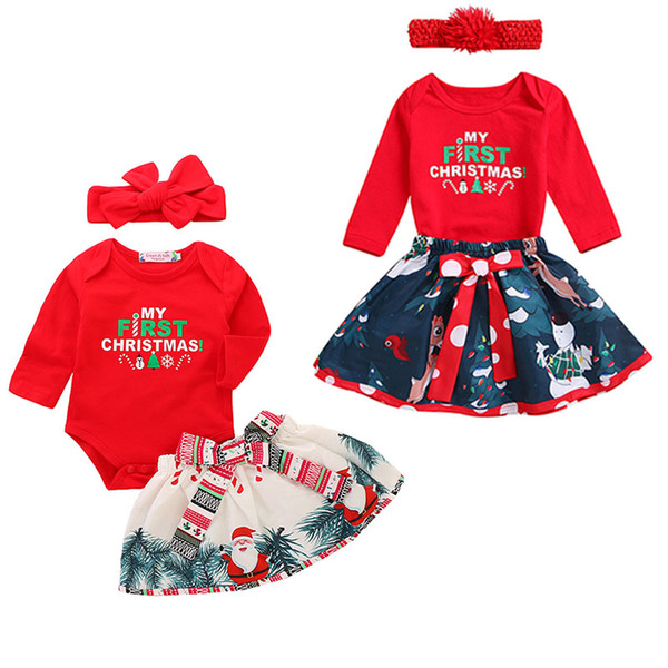 842663d64a60 Xmas Baby letter print outfits children girls Santa Claus romper+skirts  with headband 3pcs set fashion Christmas kids Clothing Sets C4935