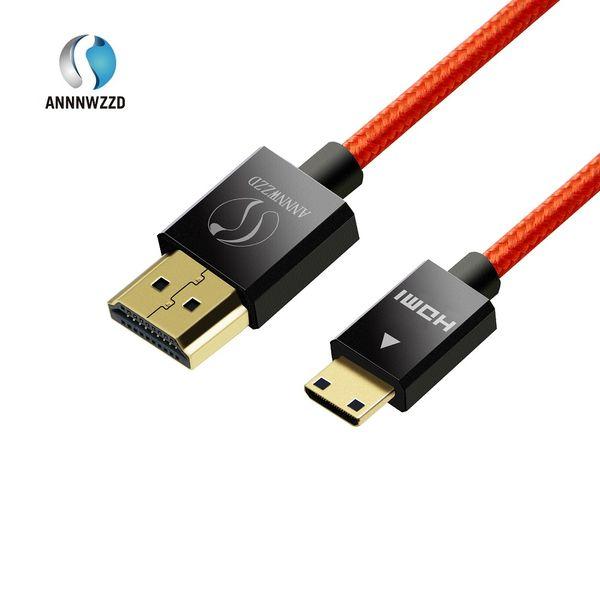 Mini Hdmi Cable V1.4 1M 2M 3M 5M enchufe (tipo C) para enchufar (tipo A) cable   chapado en oro 1.4a Real 3D   1080p 2160p