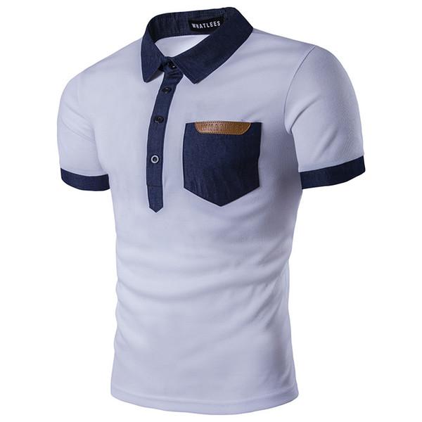 Mens clothing cor sólida camisas de manga curta tops stand collar camisa masculina com bolso s-2xl freeshipping