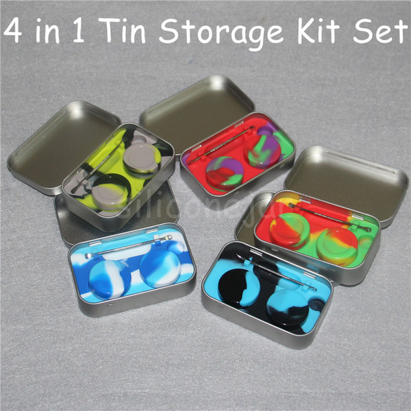 4 in 1 Tin Silicone Storage Kit Set with 2pcs 5ml Silicon Wax Container Oil Jar Silver Dab Tool Metal Box Case Portable
