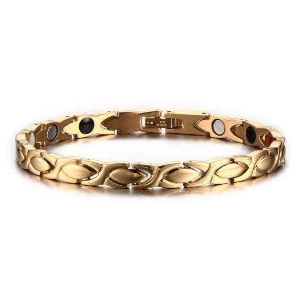 CBGJ Gold-Color Women Bracelet Jewelry Energy Health Magnetic Bracelets for Women Girls Charm Balance Bracelets