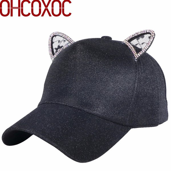 7e476abbe4 new women lovely baseball cap casual hat luxury rhinestone lace cat ear  design character cartoon style