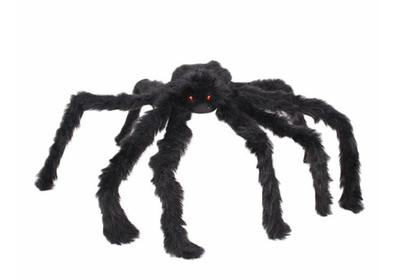 Soft Black Plush peluche Spider Funny Toy Scary Red Eyes for Halloween Decor Toys Party Stage Horror Props Prank Joke Scary Toys