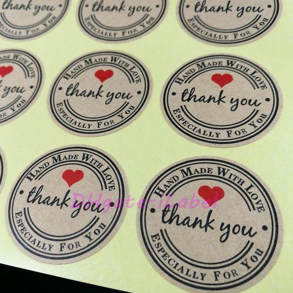 144PCS Handmade WIth Love Sticker 38*38mm Vintage Stickers Kraft Sticker DIY Hand Made For Gift Cake Baking Sealing