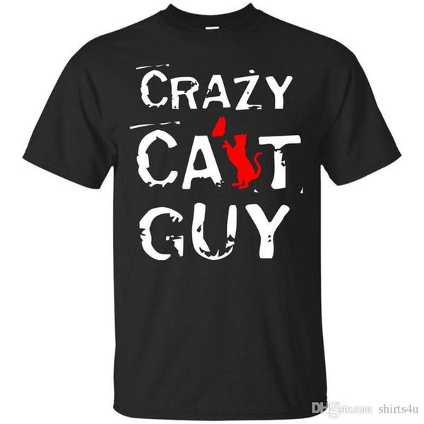 Crazy T Shirts Men's O-Neck Crazy Cat Guy Short Sleeve Compression T Shirts