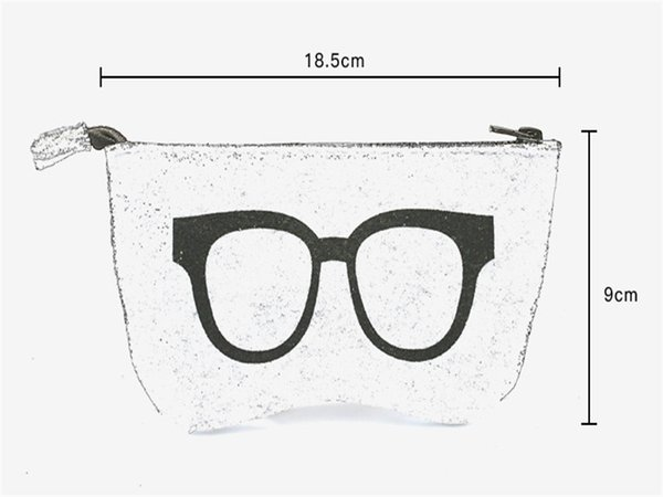 Newest Stripped Zipper Glasses Pouch Sunglasses Case Portable Felt Bag Protector Storage Bag Freeshipping 18.5*9cm