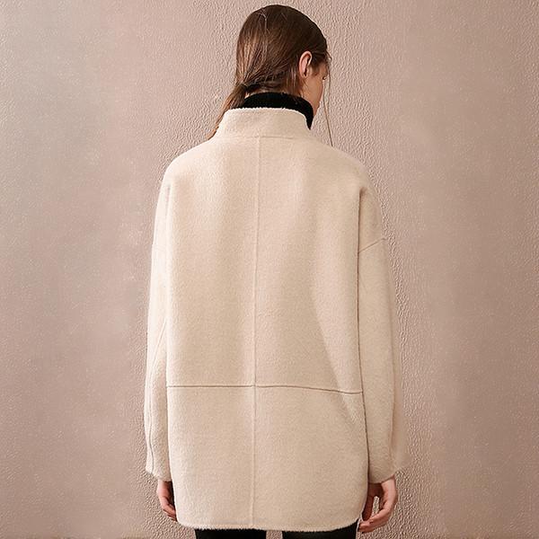 Taschen Blazer 2018 Frauen Wolle Entwurf Farben Einzelne Großhandel Plus Mantel Größe Neue Mode Lose Knopf 2 Einfacher 100Wolle Mantel Von Kurzer dxrCtQhsB