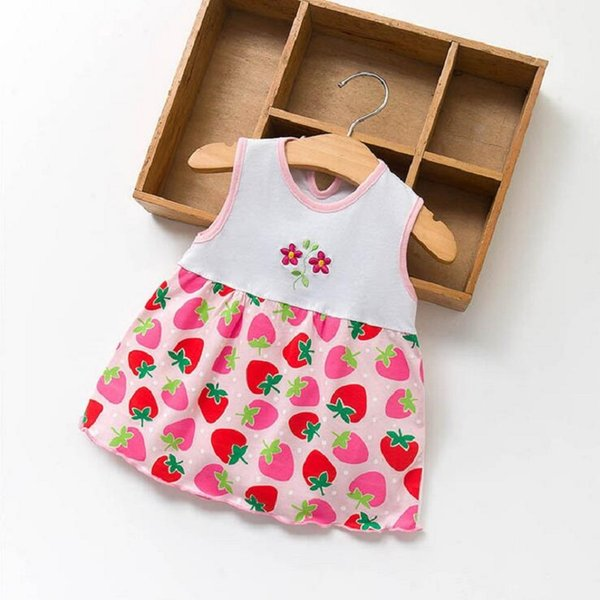 Infrant Baby Girls Dress Kids Summer Clothing Child Cotton Sleeveless Print Floral Strawberry Embroidery Casual Princess Dress