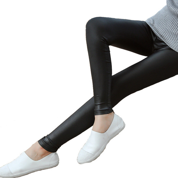 Autumn Girl Sexy Faux Imitation Leather Leggings Women Black Matt Pencil Pants Super Elastic Slim Leggings Trousers S18101502