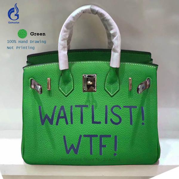 Großhandel 25 Cm Echtes Leder Tasche Berühmte Marke Designer Frauen Handtasche Graffiti Brief Drucke Togo Ledertasche Casual Tote Crossbody Tasche Von