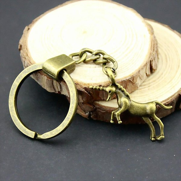 6 pieces key chain women key rings fashion keychains for men lucky horn horse 35x15mm