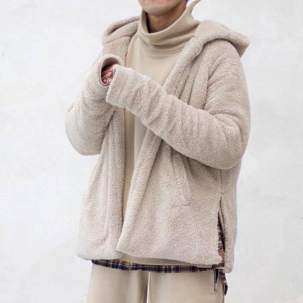 Страх Божий удобный Шерпа с капюшоном куртка Мужчины Женщины флис кардиган пальто Kanye West хип-хоп верхняя одежда зимние пальто MQH1107