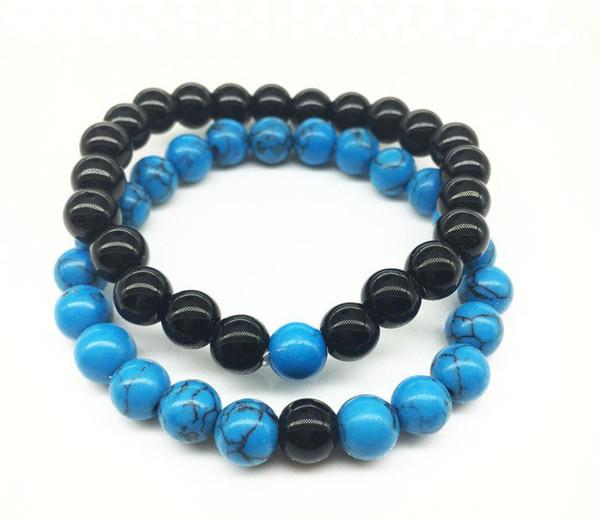 Handmade Blue stone matte yoga set Buddha Beads Natural Stone Volcanic Rock Bracelets 2018 new fashion for Men Women Jewelry
