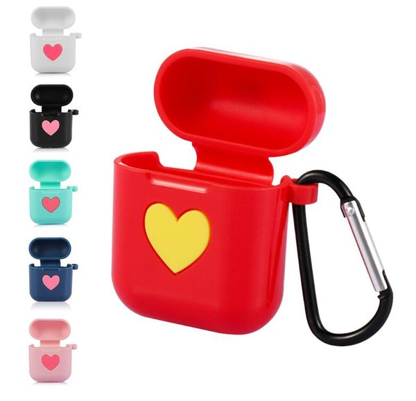 Non-slip Love Heart Silicone Case Cover Earphones Pouch Protective Skin Anti-lost Hook for Air Pods airpod Shock Proof Sleeve