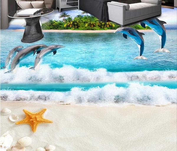 Custom 3D Floor Wallpaper 3D Ocean World Floor Painting Water PVC Self-adhesive Wall Sticker Wallpaper Waterproof