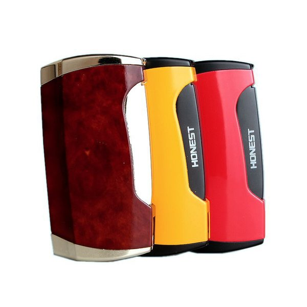 Honest Dual Jet Flame Lighter Side Pressure Cigar Spray Butane Gas Lighters Refillable Metal Lighterwith cigar cutter shipping from factory