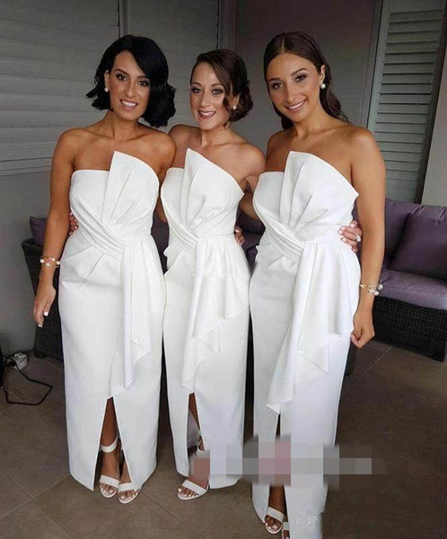 Latest Simple White Long Bridesmaid Dresses Strapless Pleats Floor-length Honor of Maid Dresses Evening Dresses Gowns