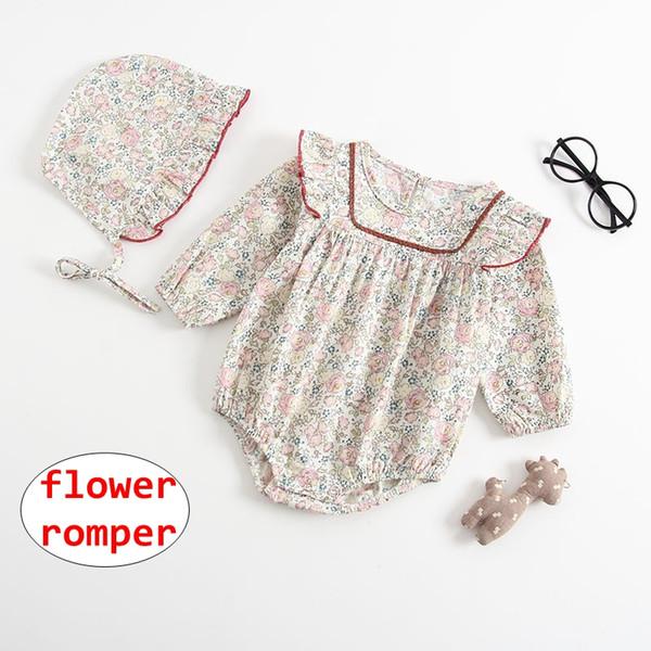 INS Bebek Kız çiçek baskı Romper Yenidoğan Yaz Sonbahar uzun kollu Tulum Bebek Tulum Seti 5 boyutu