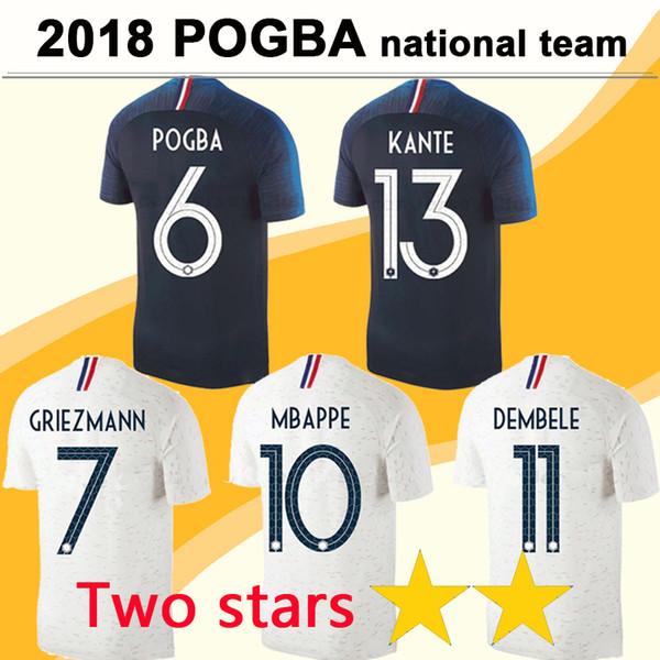 2 Stars MBAPPE GRIEZMANN Soccer Jersey 2018 World Cup POGBA GIROUD DEMBELE Men Two Star Football Jerseys National Team KANTE Home Away Shirt