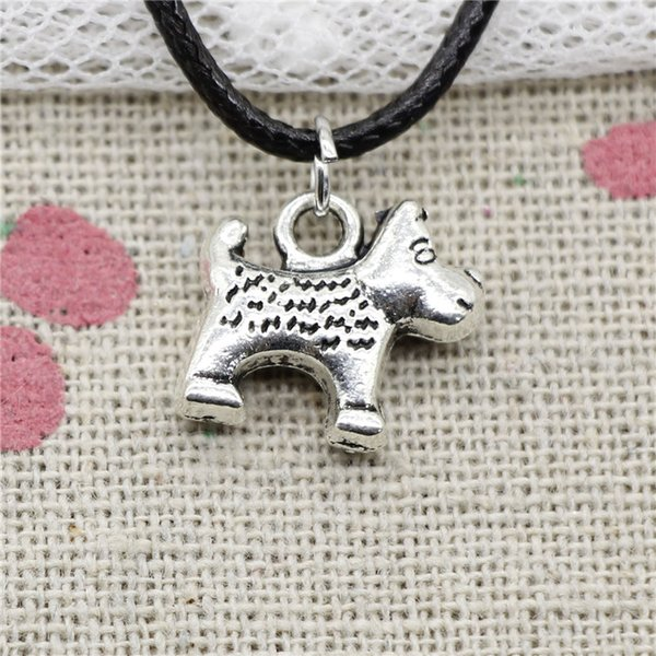 Creative Fashion Antique Silver Pendant dog dalmatians 13*14mm Necklace Choker Charm Black Leather Cord Handmade Jewlery