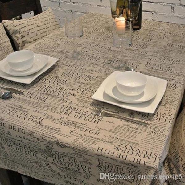 Carta de lino retro de impresión de tela de estilo europeo rectángulo mesa de café cubierta mantel multifuncional envío gratis ZB-37