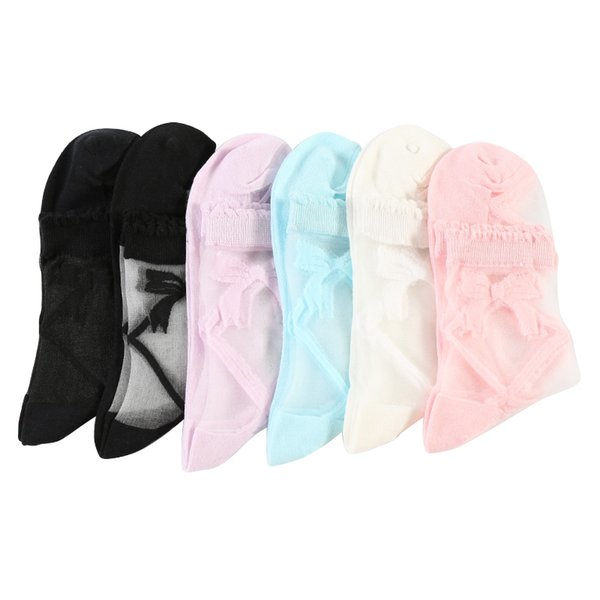 60PAIRS/LOT SINGYOU Summer Thin Transparent Silk Sock Women Casual Cool Bowknot Ladies Grass Silk Socks breathable Crystal socks