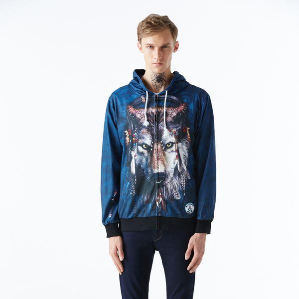 Mr.1991INC Autumn Thin Long Sleeve Male 3d Hoodies Zipper Animal Printed Mens Sweatshirt Fashion Wolf 3D Printing Hoodies Men