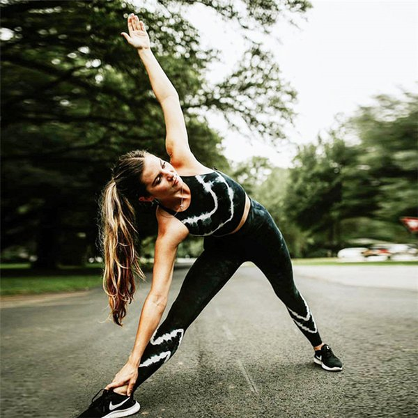 Wholesale free shipping 3d digital print slim fitness fashion yoga gym wear women ladies sport Sets