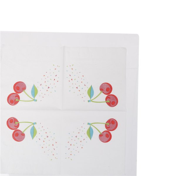 20pcs New Paper Napkin Fruit Sweet Cherry fresh napkin paper tissue kids birthday party Coffee shop glass decoration