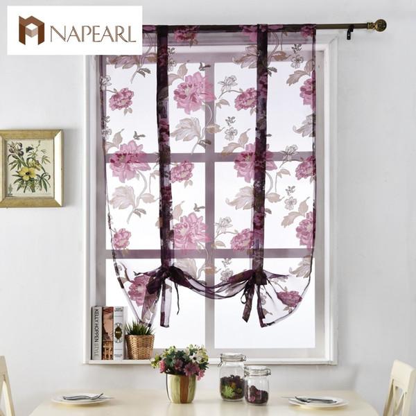 2019 Floral Roman Curtains Short Kitchen Valance Curtains Purple Tulle  Fabrics Sheer Panel Modern Flower Window Treatment From Hongheyu, $23.16    ...