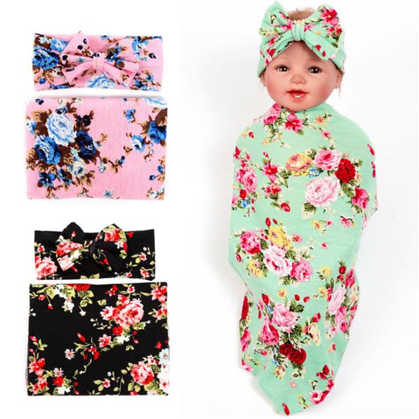 2 шт./компл. мягкий Муслин новорожденный одеяло постельные принадлежности одеяло обернуть цветочные принты пеленание одеяла полотенце + лук оголовье / шляпа завод Оптовая